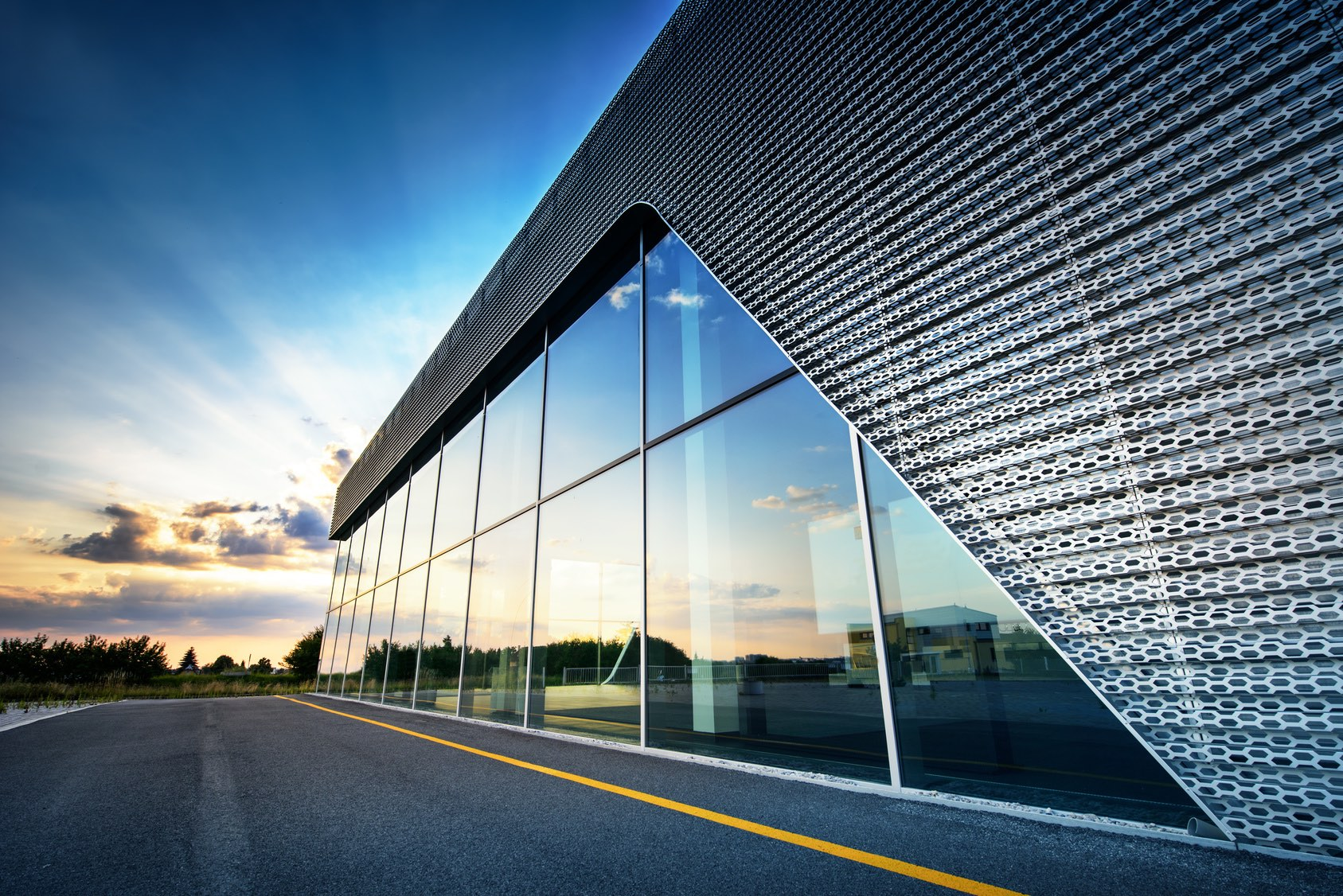 Huge commercial glass within Commercial Building
