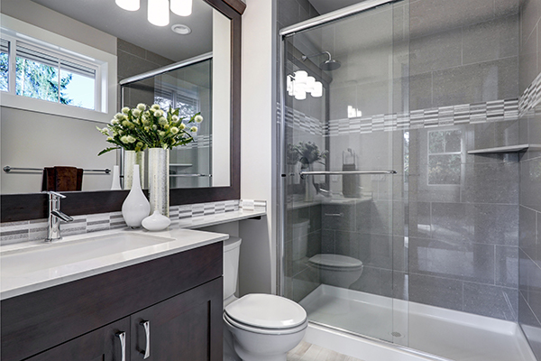 bathroom bypass shower door with the tub is available in Vancouver