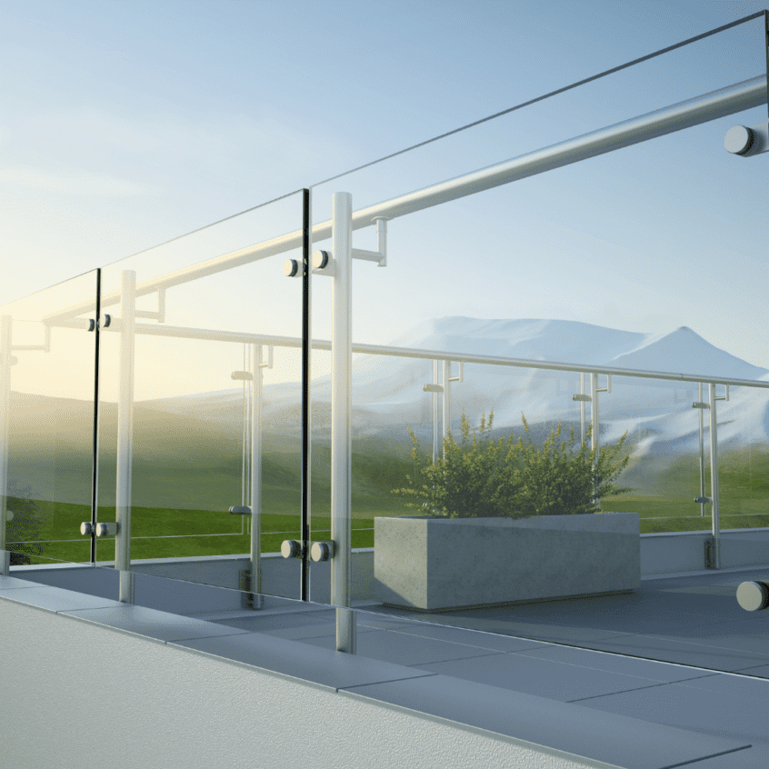 visual image of outdoor glass railing